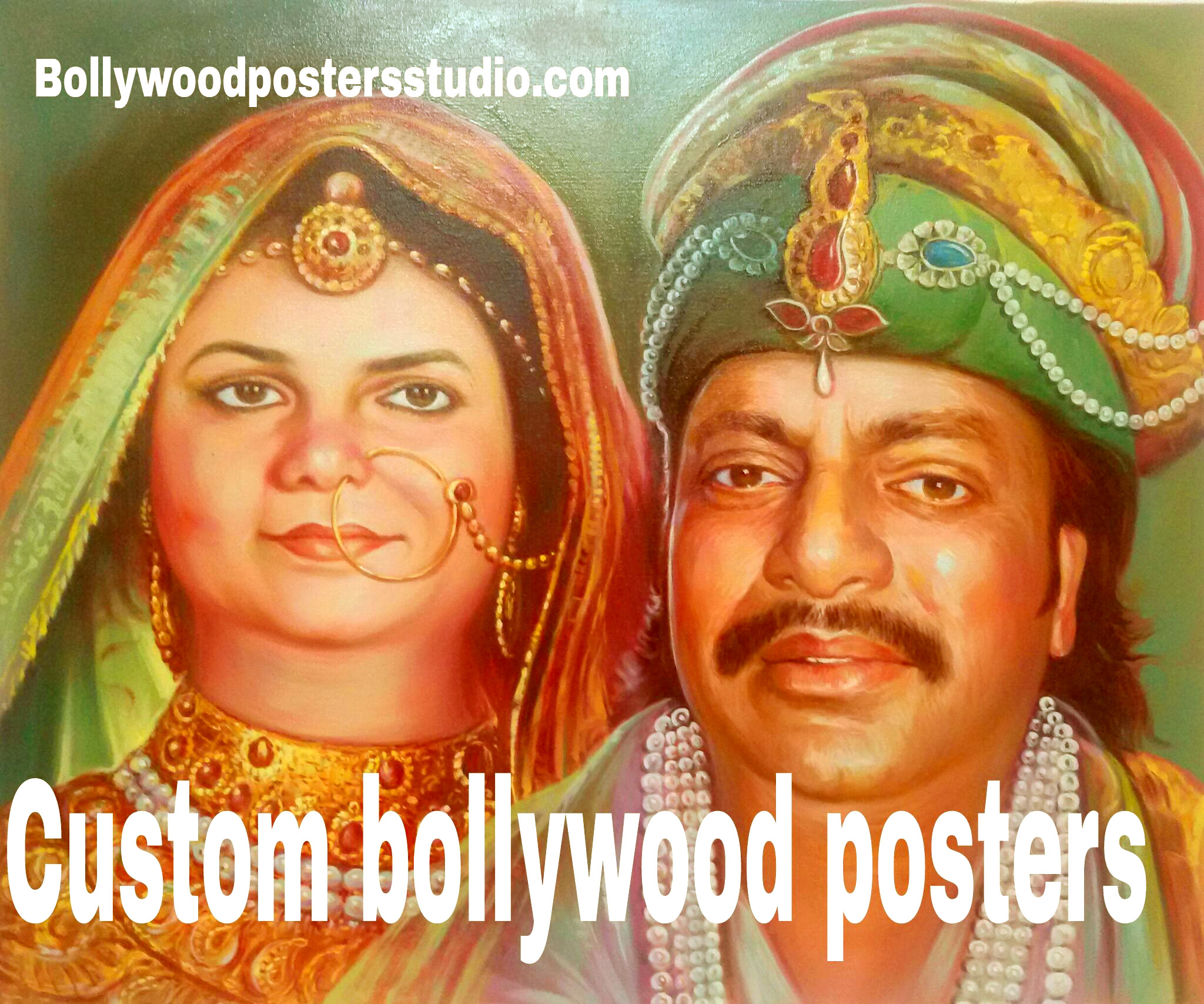 custom online bollwood poster hand painted portrait- the fusion of photo and bollywood poster