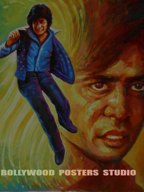 hand painted bollywood film fan posters