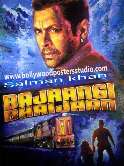 hand painted success party Bollywood poster of Bajrangi Bhaijaan copy