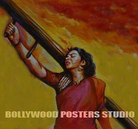 indian cinema hoarding hand painted Bollywood posters