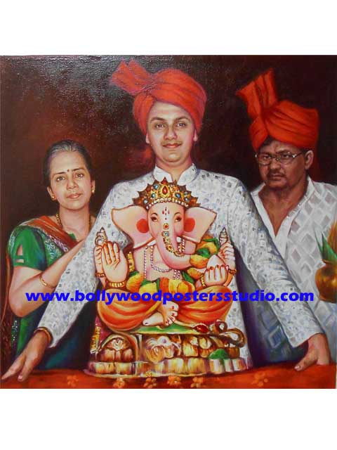 indian tradition and custom portrait hand painted mumbai live