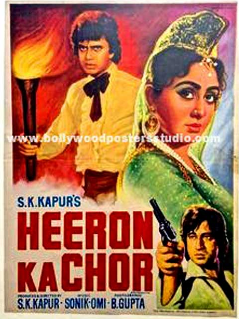 Hand painted bollywood movie posters Heeron ka chor
