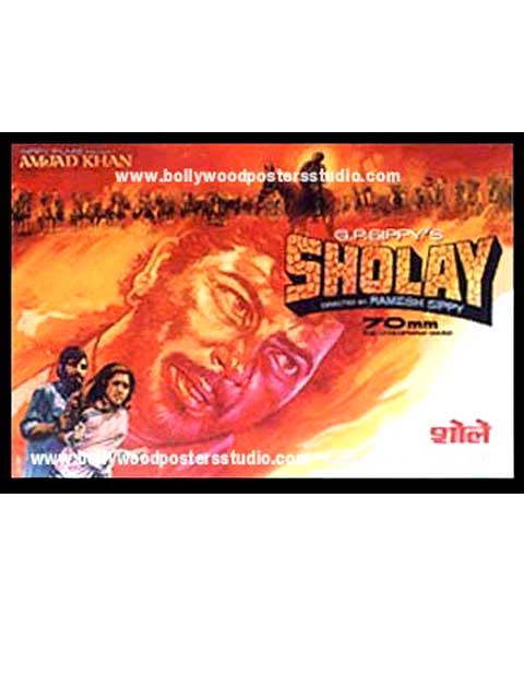 Hand painted bollywood movie posters Sholay - Amitabh bachchan