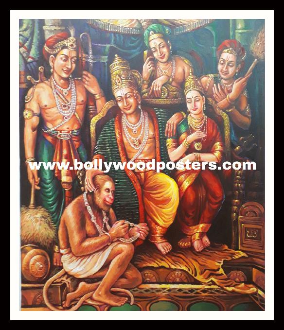 Ram seeta hanuman hand painted reproduction
