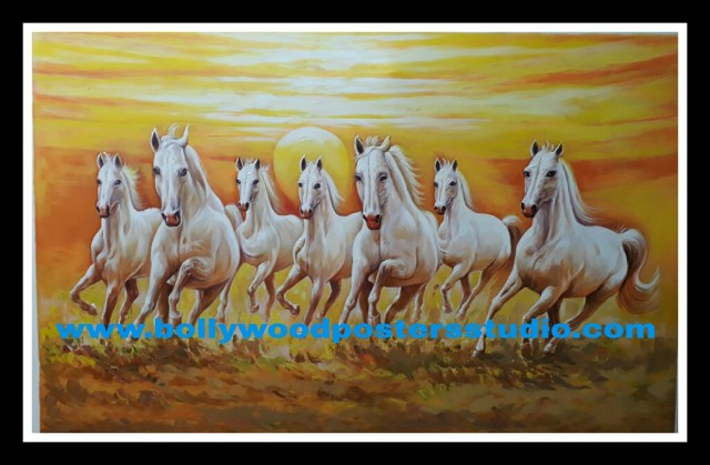 7 horse painting on oil canvas - reproduction
