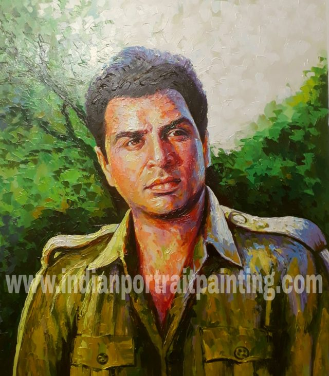 Hand painted knife portrait artist on oil canvas