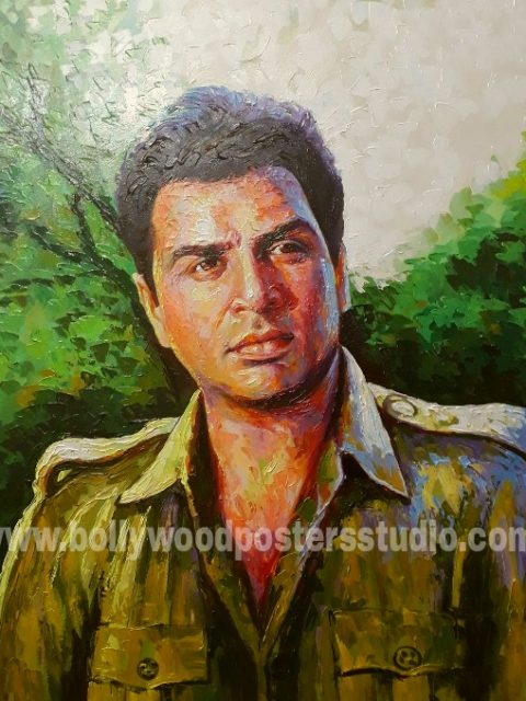 Hand painted knife portrait artist on oil canvas
