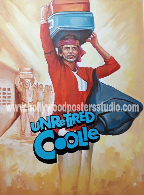 Hand painted vintage bollywood posters recreated