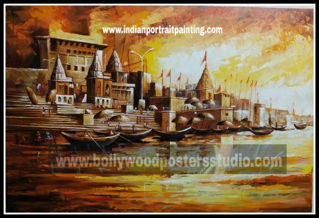 Canvas original Banaras ghat oil painting
