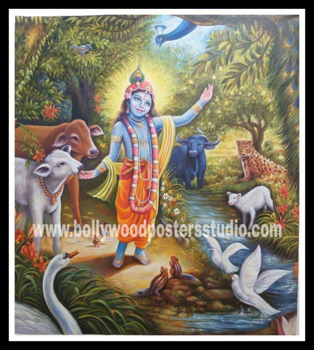 Canvas original Krishna in vrindavan oil painting