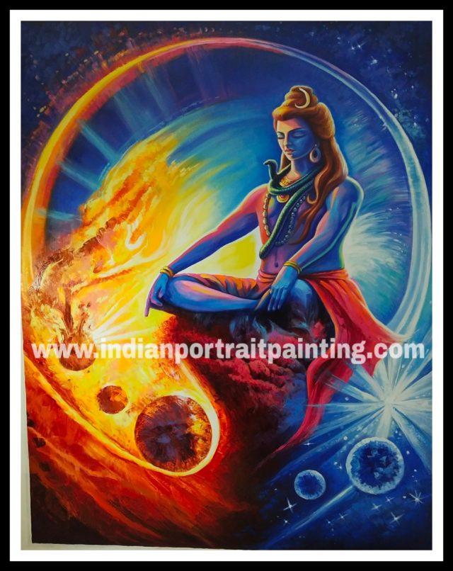 Canvas original Lord Shiva knife art painting
