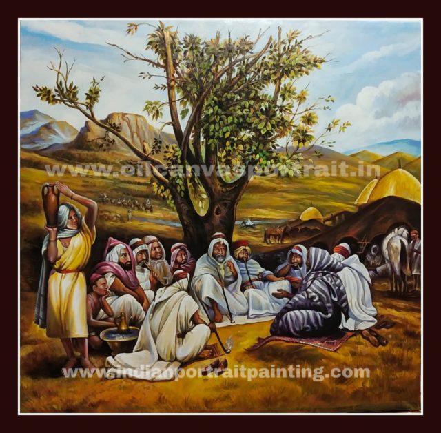 Canvas original old arabian oil painting