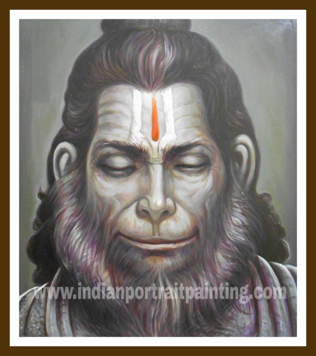 Oil on canvas Hanuman face paintings