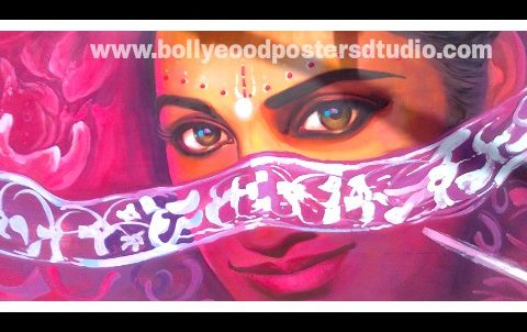 Hand painting knife art on canvas Bollywood poster