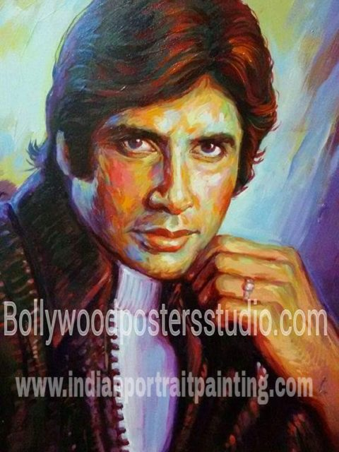 Hand painted Bollywood style portrait