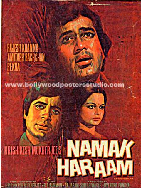 Hand painted bollywood movie posters Namak haraam - Amitabh bachchan