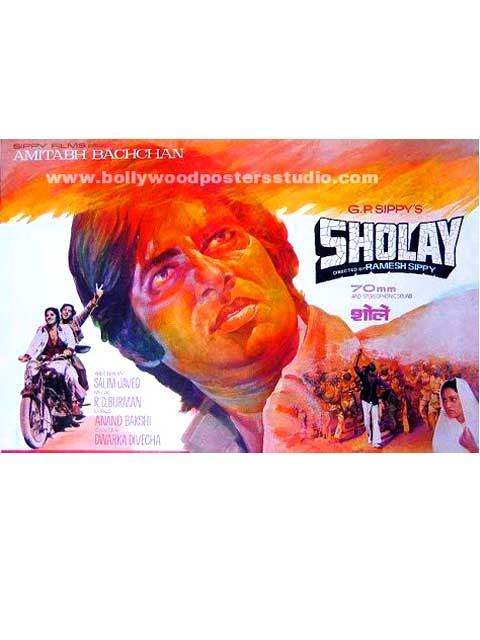 Original hand painted bollywood posters Sholay - Amitabh bachchan