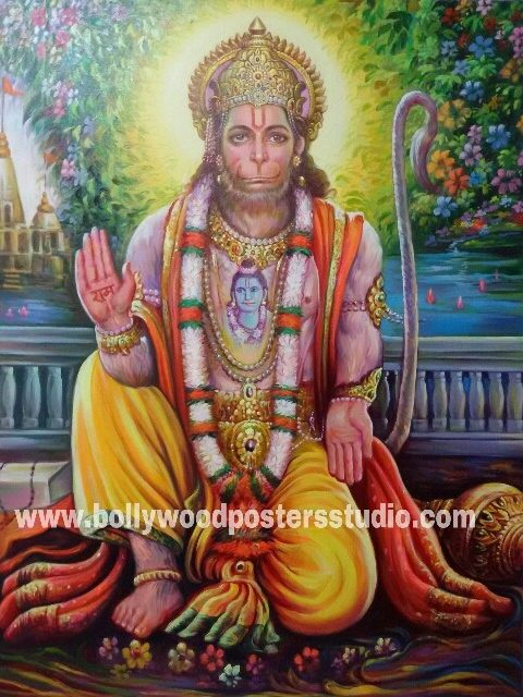 Perfect hand painted portrait artist in india , mumbai - Hanuman jI reproduction on oil canvas