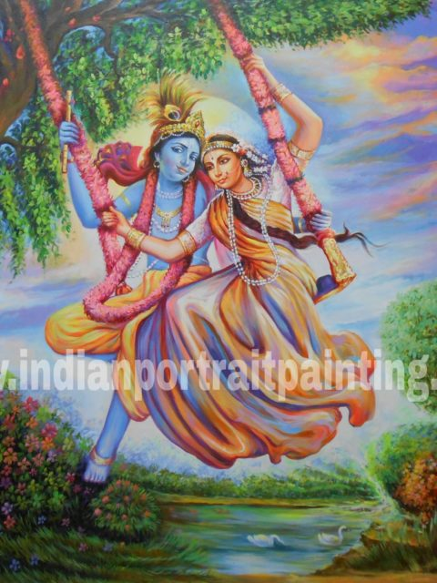 Radha krishna on swing - Best hand painted painters reproduction on canvas
