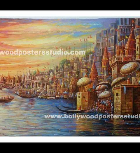 Oil canvas paintings of varanasi ghat - Reproduction