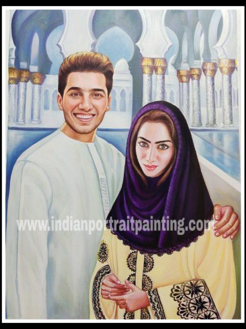 Customized original oil portrait for couple