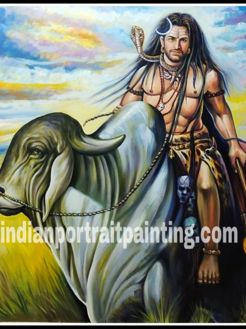 Lord Shiva oil painting on canvas artist