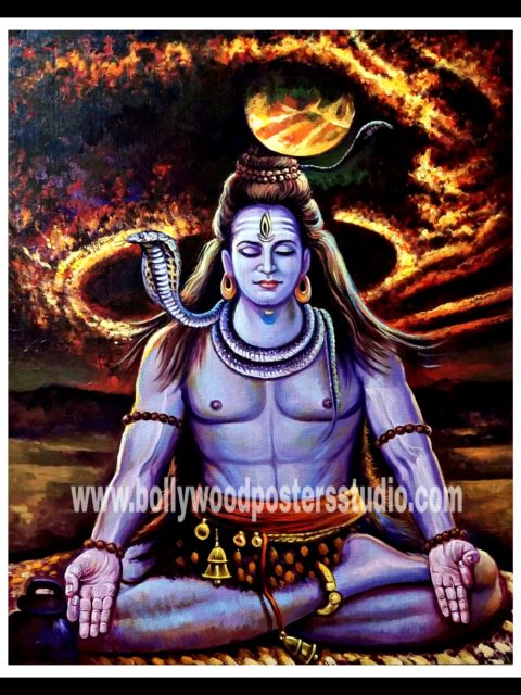 Oil painting of lord shiva