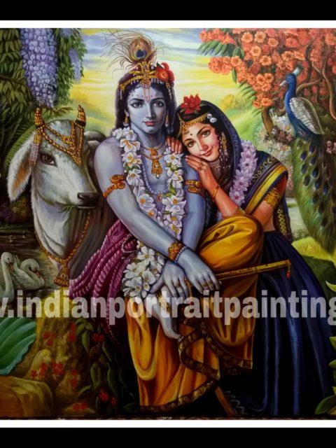 Original hand painted Radha Krishna art gallery oil painting