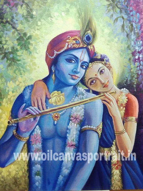 Original oil paintings for sale - Radha Krishna