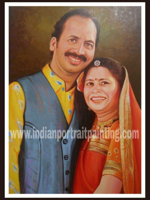 Portrait painting for parents